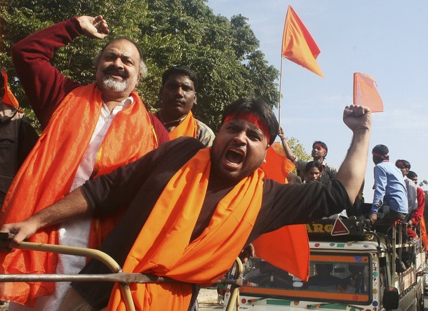 Members from the hardline Hindu groups shout in Chandigarh